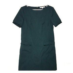Loft Forest Green Fringe Pocket Shift Dress